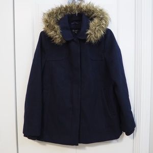 Topshop Navy Blue Coat Detachable Faux Fur Hood